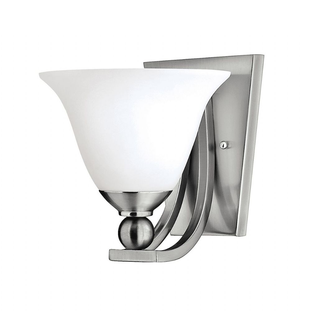 Bolla Single Wall Light In Brushed Nickel With An Opal